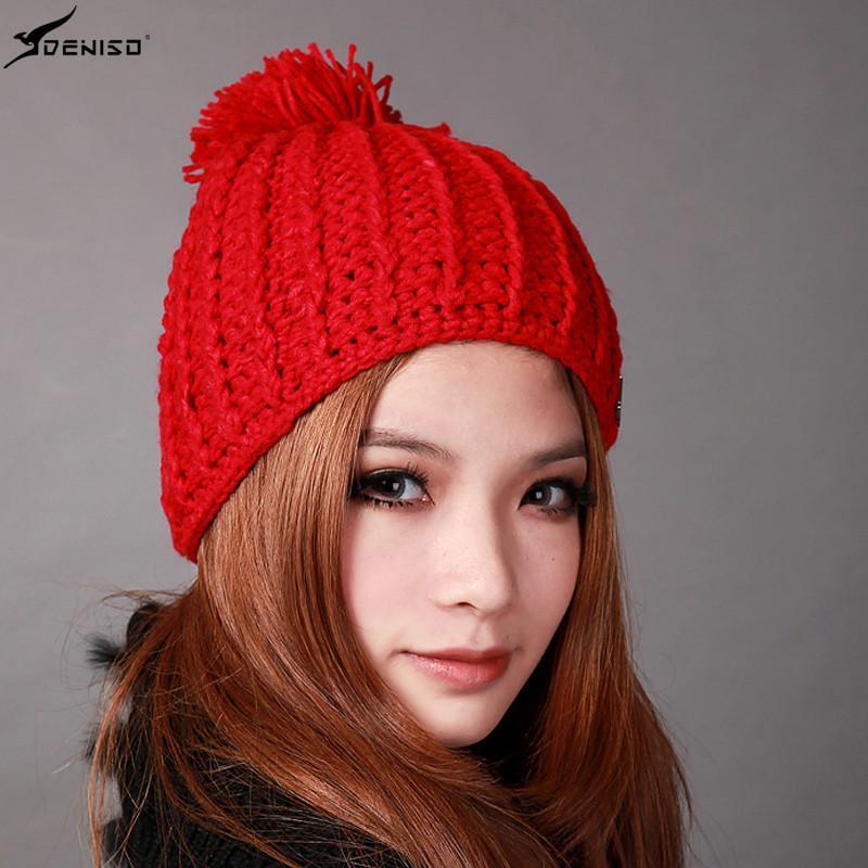 deniso帽子冬帽女款纯手工编织帽针织帽毛线帽ds-1200 大红色高清实拍