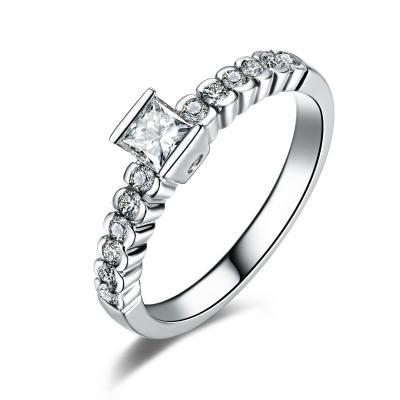 佐卡伊 白18k金共60分方钻戒指独特设计钻石珠宝 9号