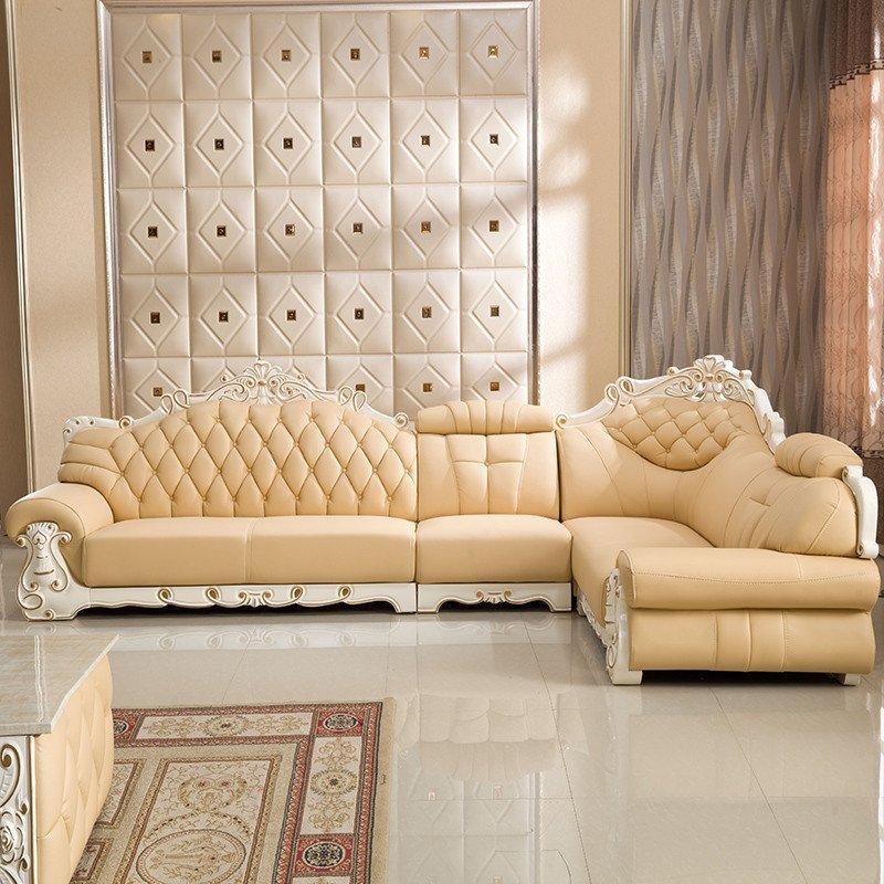 俏夫人欧式皮沙发客厅组合家具转角皮沙发9169