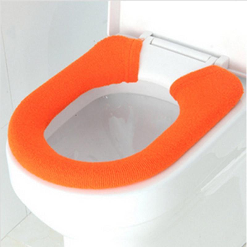 红兔子 单馨加家纯色纽扣型马桶坐垫套/保暖套 橙色