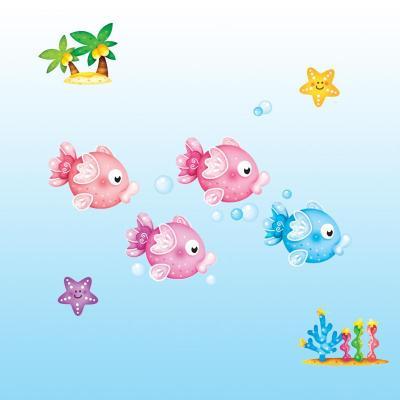 贝贝梦 韩国进口儿童房装饰夜光贴纸 卡通贴画 小鱼贴纸 可移除 fdt