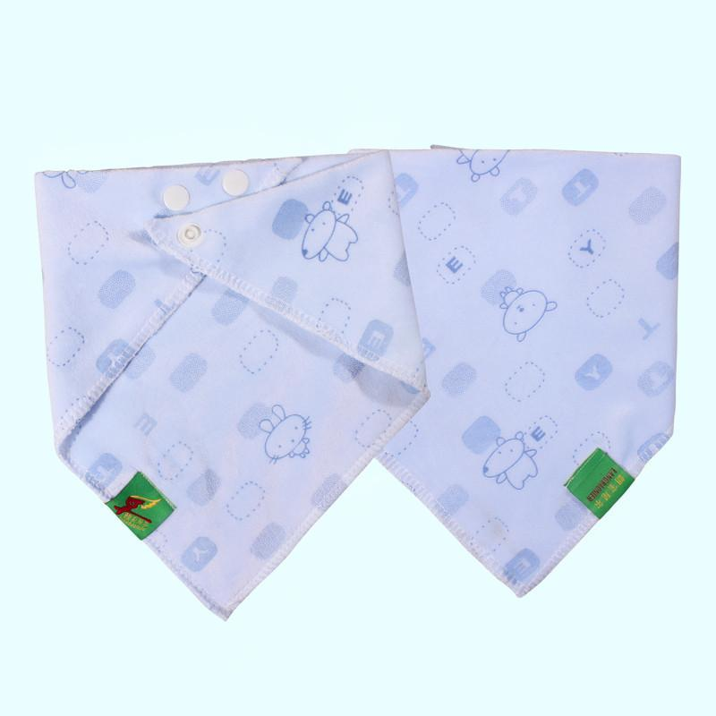 婴儿三角巾口水巾加厚双层按扣珊瑚绒男女宝宝柔软围嘴汗巾水晶绒