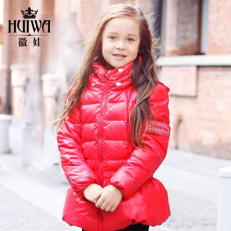 徽娃2014秋冬新款女宝宝儿童羽绒服 正品韩版小童可爱女童羽绒服 红色