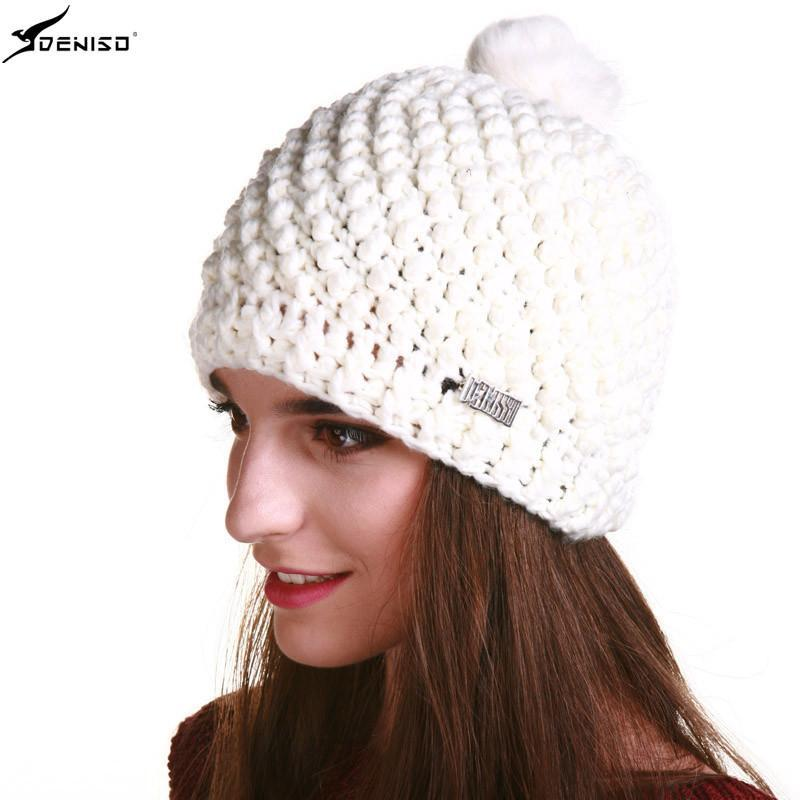 deniso帽子冬帽女款纯手工编织帽毛线帽针织帽ds-1128