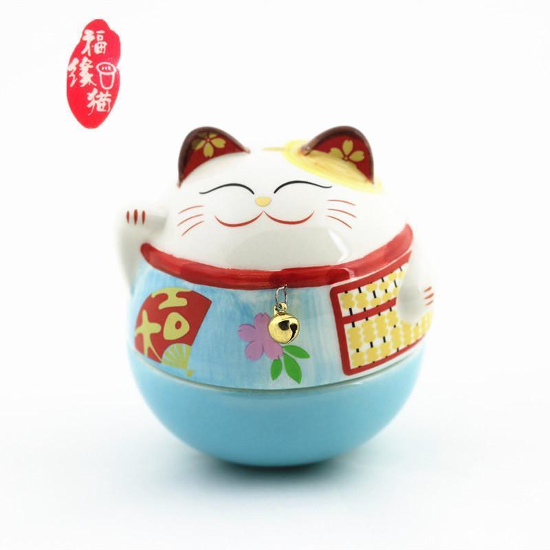 福缘猫 陶瓷招财猫不倒翁摆件 生日礼物女生 可爱萌物创意家居t 蓝色