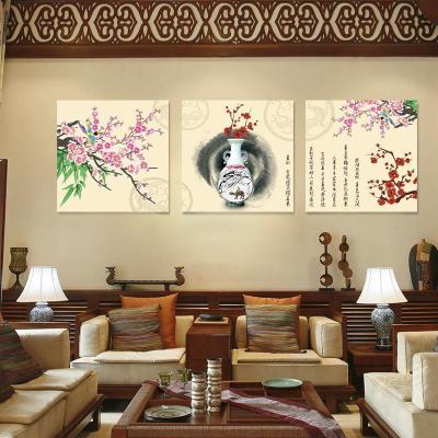 美刻新中式家居室内装饰画 民族风花瓶客厅装饰画卧室三联无框画壁画图片