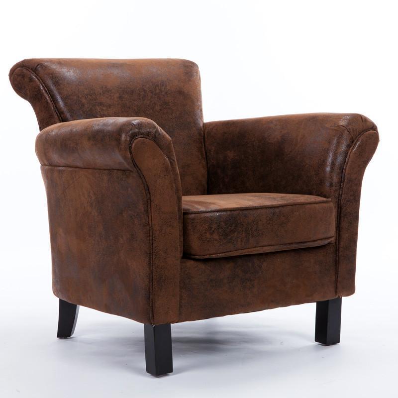 惠宜 欧式皮布艺单人沙发 软包拉扣设计休闲椅 时尚半旋转单人位电脑