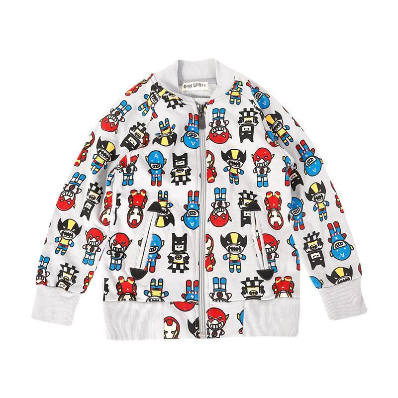 王子学院新款趣味卡通图案春秋儿童宝宝卫衣外套夹克衫wt0024 白色 14