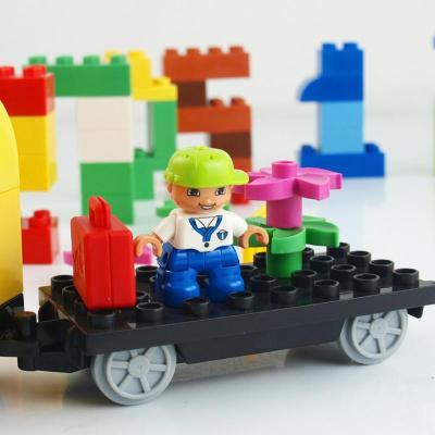 儿童宝宝早教益智拼装玩具数字火车 兼容乐高大颗粒积木塑料拼插hm108
