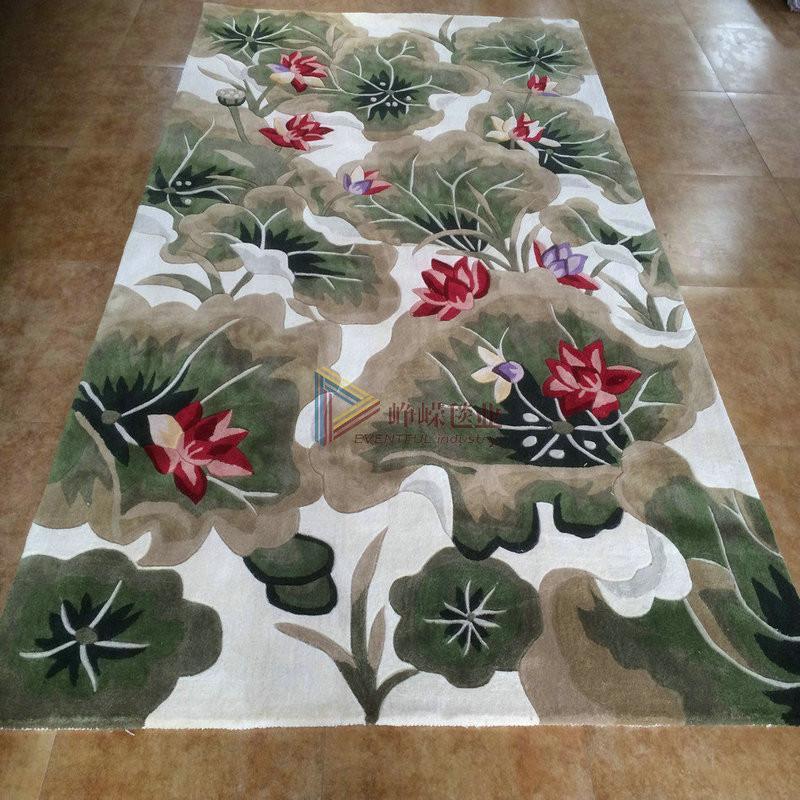 峥嵘毯业 田园风*羊毛手工地毯新西兰 花朵*卧室*客厅地毯 定制地毯