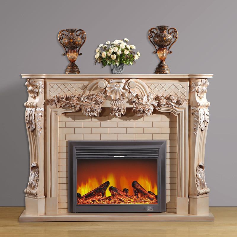 2米白色做旧扫银 欧式壁炉架