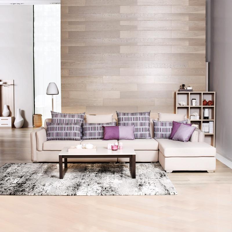 曲美领物 现代简约实木客厅布艺沙发组合可拆洗沙发