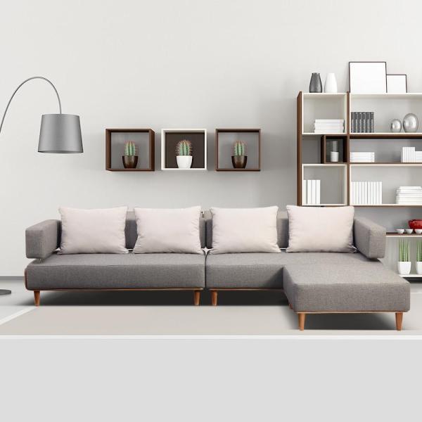 现代简约沙发布艺沙发客厅沙发组合简约欧式实木沙发