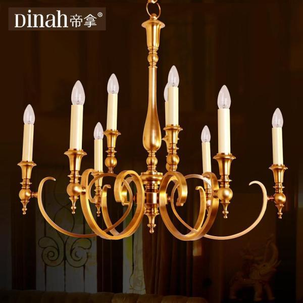帝拿全铜餐厅吊灯欧式铜灯卧室书房灯具美式客厅灯装饰铜吊灯艺术