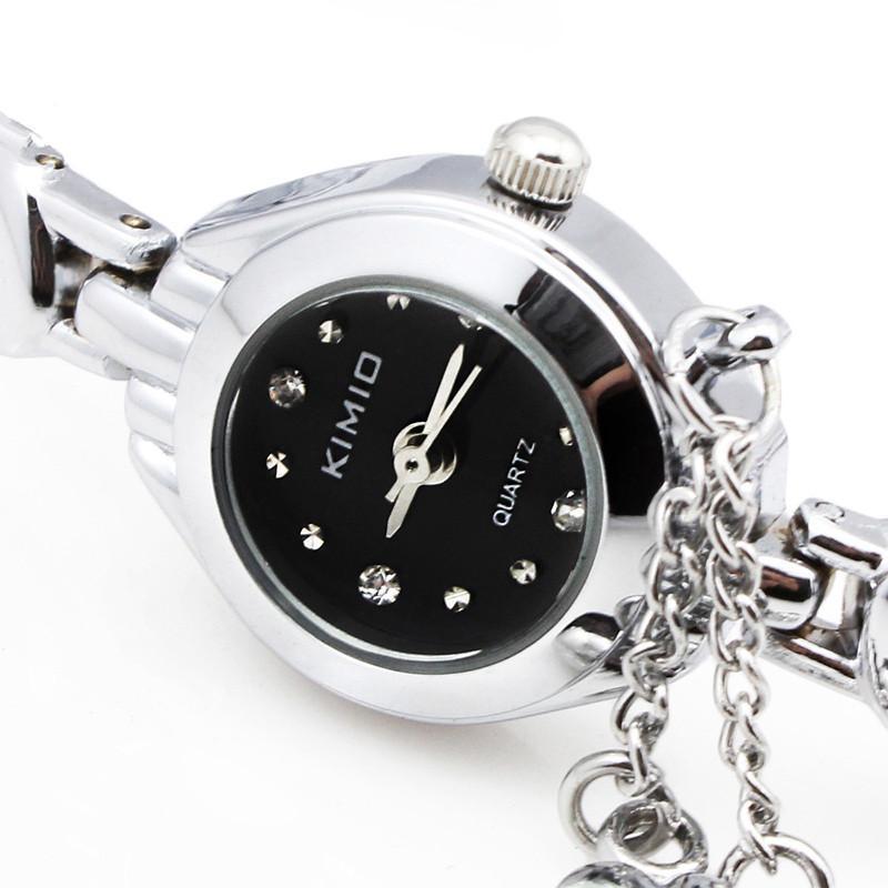金米欧(kimio)韩版时尚表 心形吊坠手链表 时装手表流行女表k018 粉色