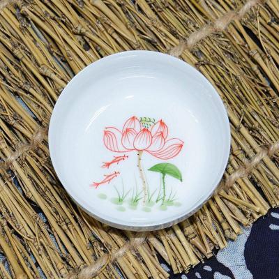 郑品 手绘青花瓷品茗杯-(红色荷花)碗型杯bh2014-354a