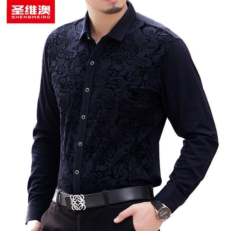 时尚休闲新款图腾花纹男士衬衫