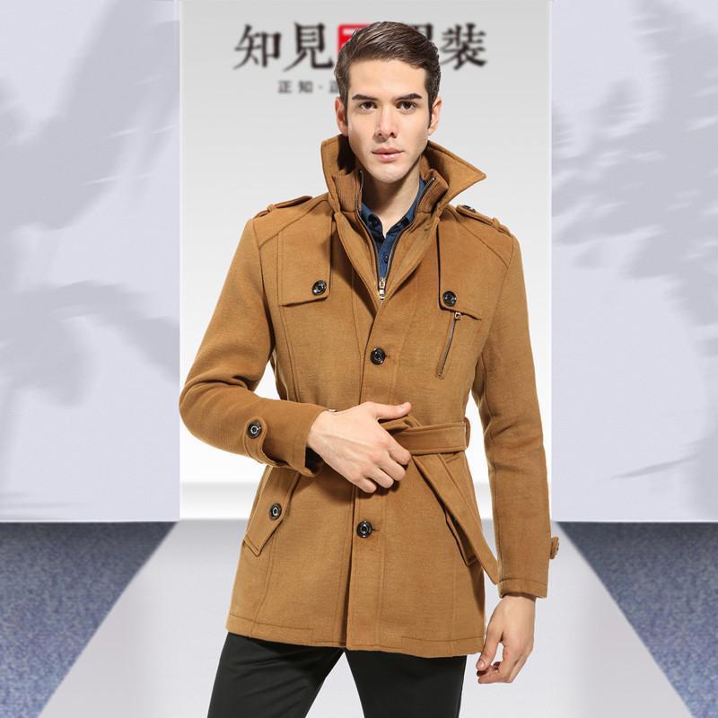 毛呢大衣男士羊毛羊绒大衣风衣翻领英伦带腰带男风衣