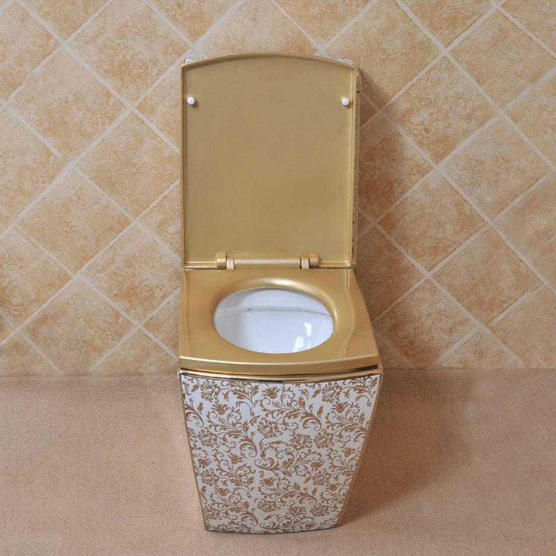 佰饰 欧式 连体马桶 高档 镀金马桶 金色座便器 彩花 彩金 艺术马桶