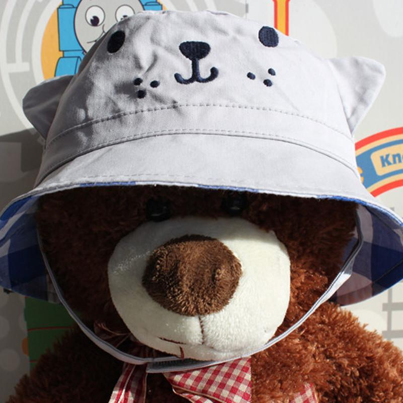 2015春夏男童渔夫帽宝宝盆帽婴儿动物造型遮阳帽卡通布帽 深灰色 帽围