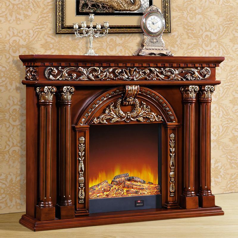 帝轩名典 欧式壁炉装饰柜 实木美式壁炉架 奢华描金 装饰取暖