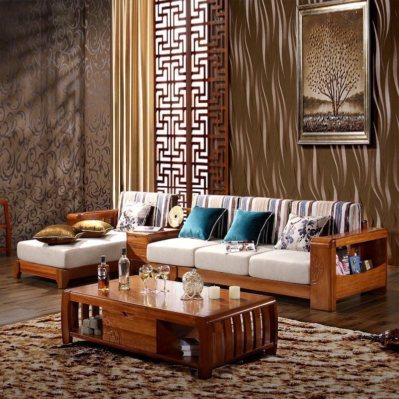 居克斯邦 全实木沙发 中式 海棠木 客厅实木转角储物沙发组合包邮