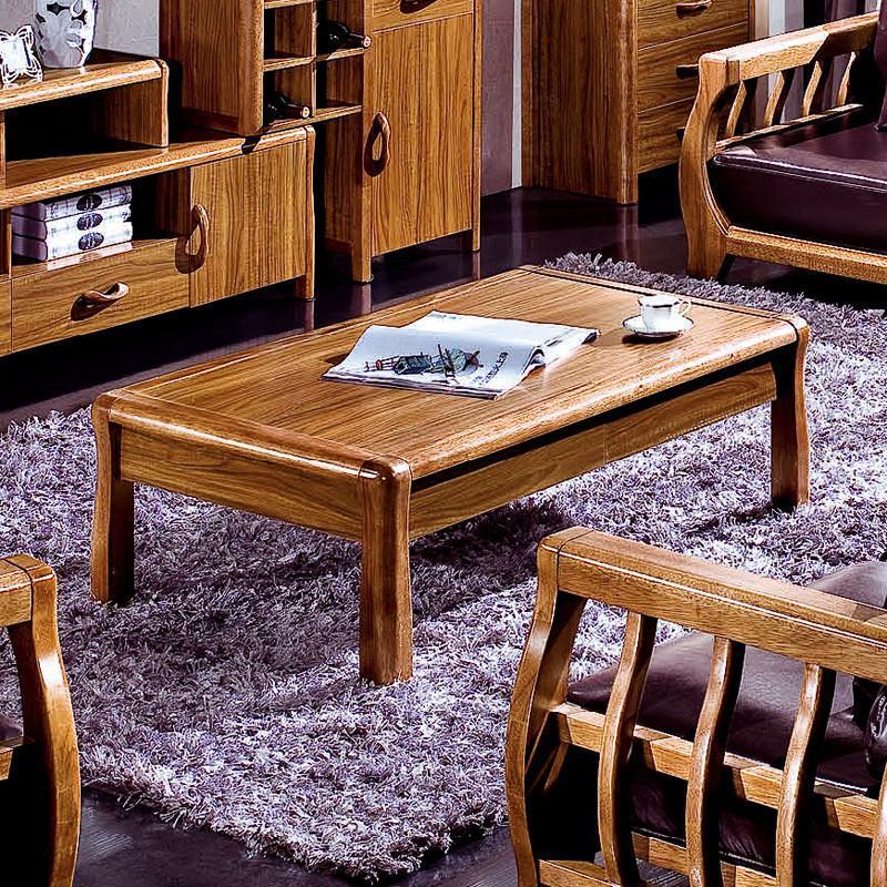 中式 实木家具 客厅 长方形茶几 卡斯拉木家具 实木茶几 虎斑木色茶几