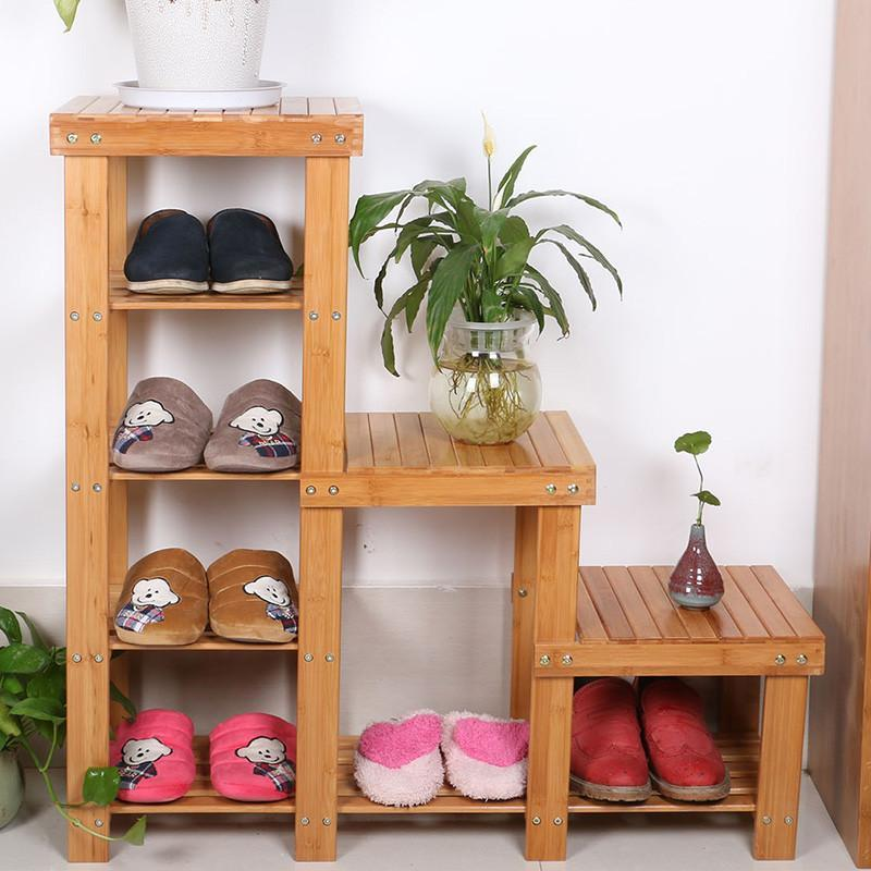 花架高低换鞋凳实木田园穿鞋凳式鞋柜鞋架储物凳子