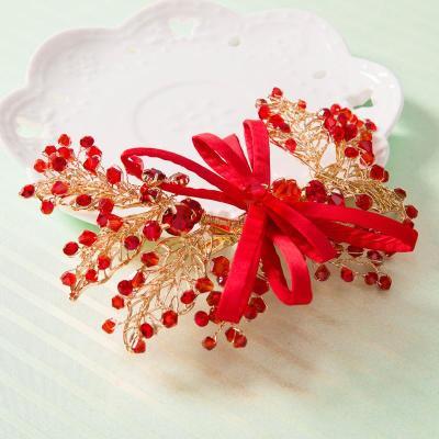 水舞新娘头饰红色手工串珠发饰结婚礼服配饰婚庆造型 迎梦 礼盒装