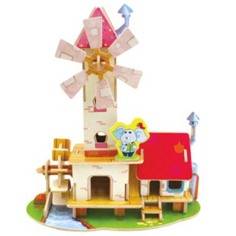 3d立体拼图立体纸膜房屋模型玩具儿童益智早教智力玩具木制拼图拼板