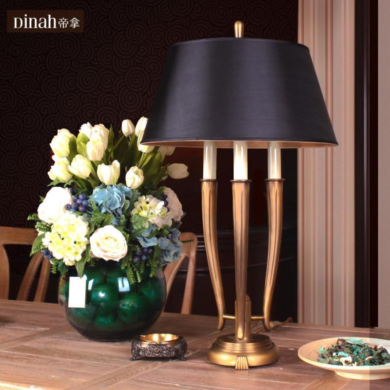 帝拿创意宜家欧式纯铜美式乡村客厅台灯书房卧室床头北欧复古设计艺术