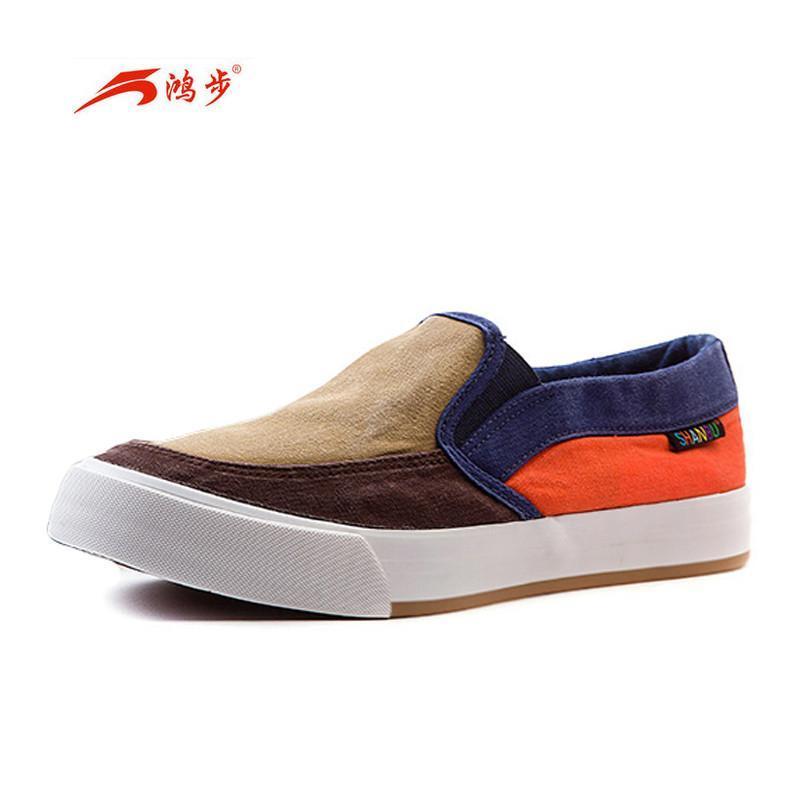 鸿步春夏季男鞋拼色帆布鞋男韩版潮鞋无鞋带男生布鞋