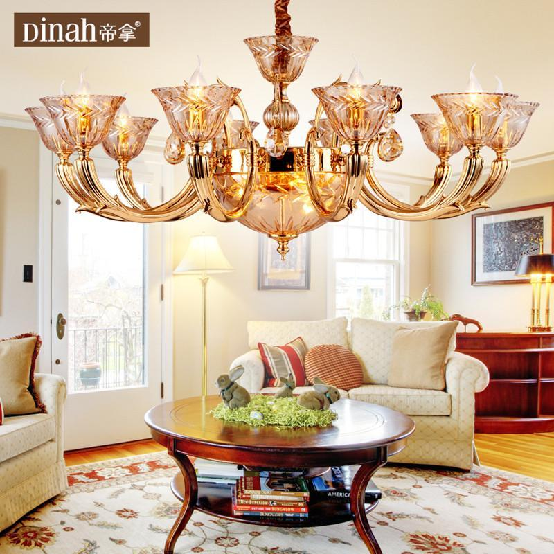 【帝拿(dinah)吊灯】帝拿欧式纯铜水晶吊灯现代客厅