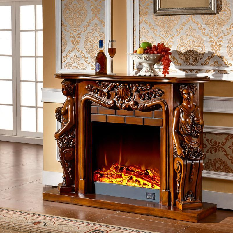 33米欧式壁炉 象牙白深色古典壁炉架