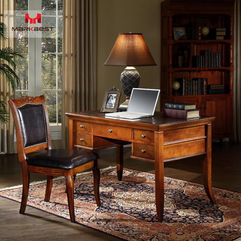 品之印家具 美式书桌实木书桌 电脑桌办公桌子 工作写字台欧式学习桌图片