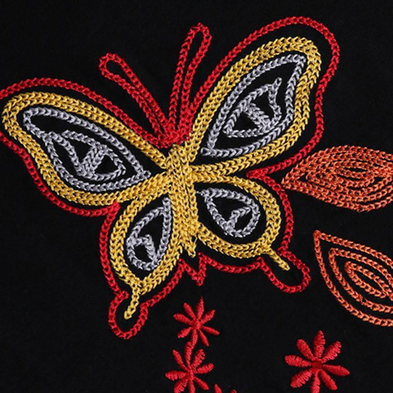 雅旦戈乐2015夏装新款修身气质绣花蝴蝶经典圆领短袖女士t恤by401