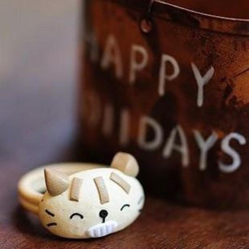 迈姿喵了个咪软陶瞌睡猫喵喵可爱戒指 创意韩版可爱小礼物 其他