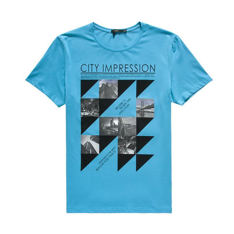 森马2015夏装新款短袖t恤 男士休闲都市印花t恤衫套头打底衫男装 深图片