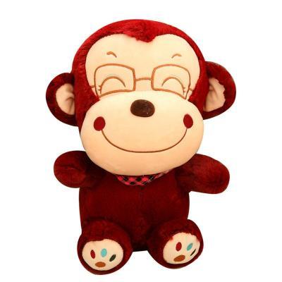 可爱大嘴猴公仔毛绒玩具笑脸悠嘻猴玩偶抱枕 儿童节生日礼物女生 酒红