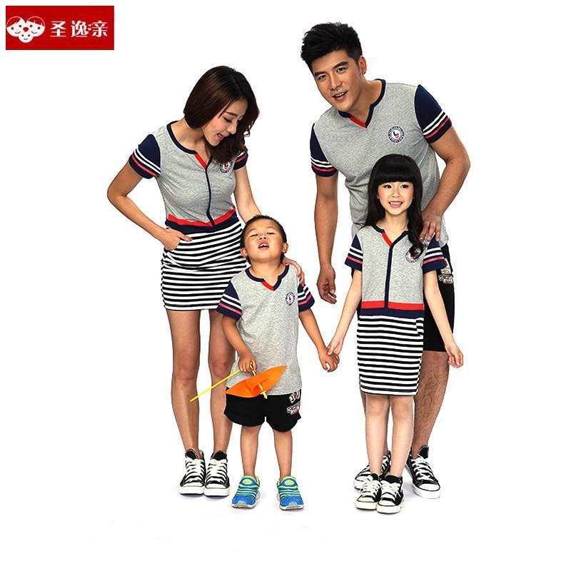 圣逸亲新款夏装一家三口亲子装母女父子韩版t恤情侣装1526 浅灰色