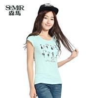 森马短袖t恤 2015夏季新款女装 女士韩版圆领印花字母图片