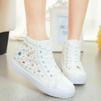 2015春夏新款时尚蕾丝花边白色高帮布鞋内增高帆布鞋