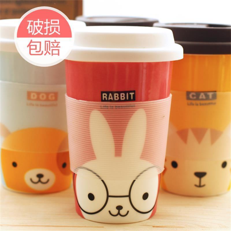 可爱陶瓷杯子卡通动物骨瓷杯带盖马克杯创意水杯茶杯 萌杯 生活杯 萌