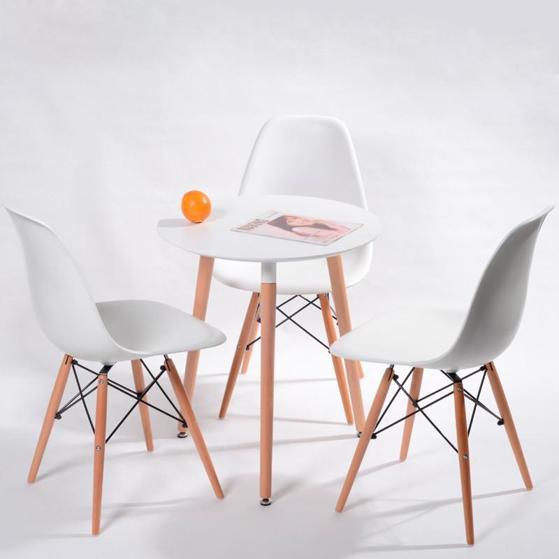 圆形餐桌实木腿桌子咖啡厅奶茶店休闲