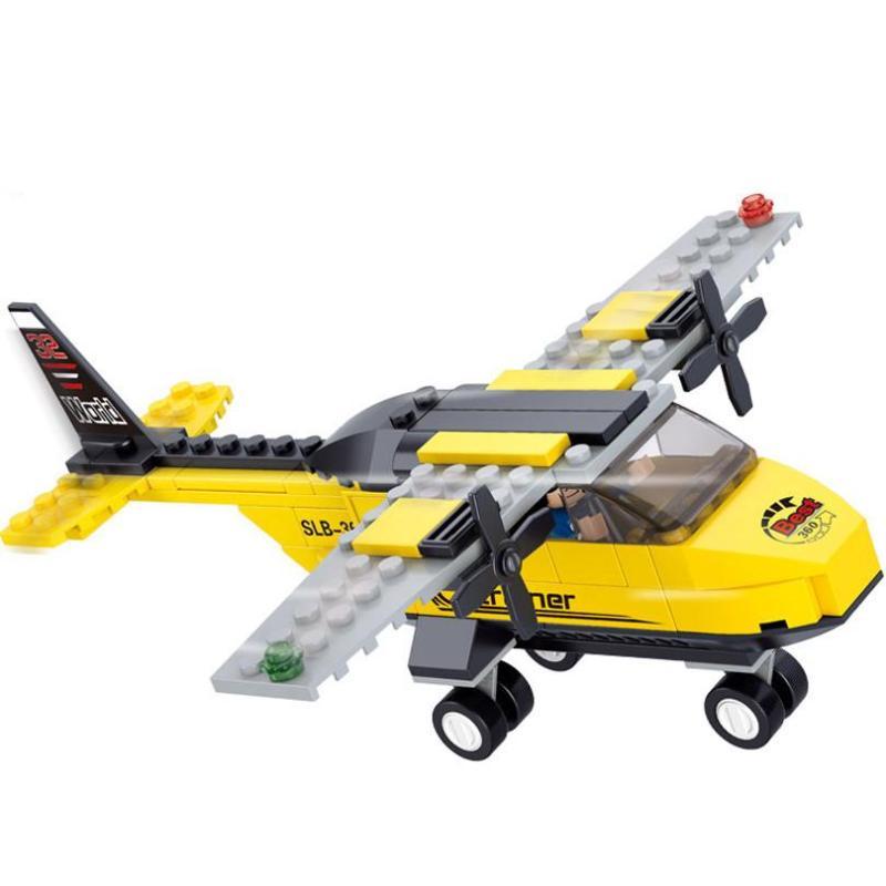 快乐小鲁班积木塑料拼插 拼装玩具飞机益智儿童 航空天地教练机