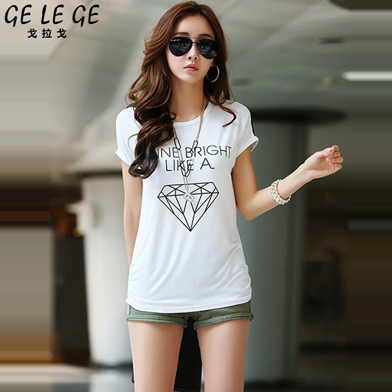 夏装新款韩版女装大码蝙蝠袖百搭上衣时尚女短袖t恤fha040587 白色 xx