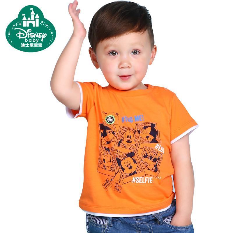 男童短袖t恤夏季儿童打底衫童装男宝宝宝宝休闲上衣婴儿圆领t恤 桔色