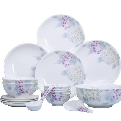 华光陶瓷绣球花语骨瓷餐具套装 釉中彩碗盘子餐具瓷器 30头礼盒装图片