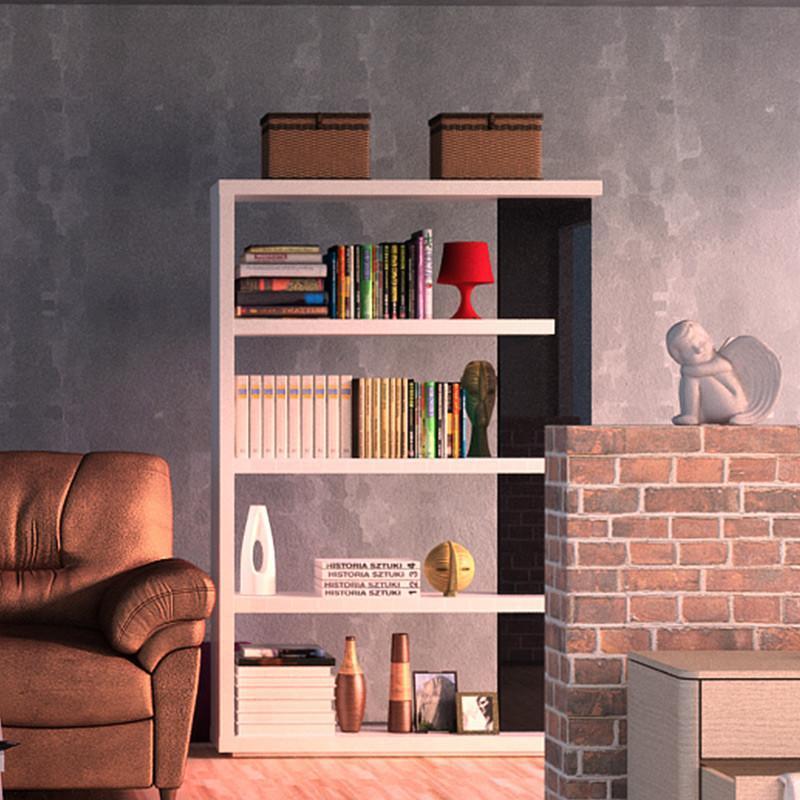 一米爱家具现代简约书架 置物架 隔断 钢琴烤漆简易书架书柜组合 白色