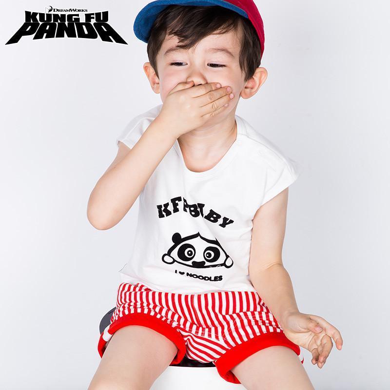功夫熊猫 男童短袖圆领t恤短裤套装婴儿衣服两件套薄夏装 白底红条